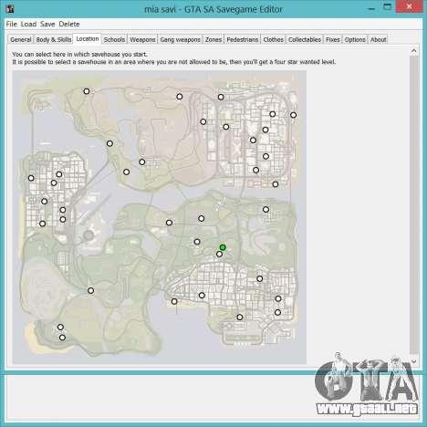Savegame Editor v3.2 para GTA San Andreas segunda pantalla