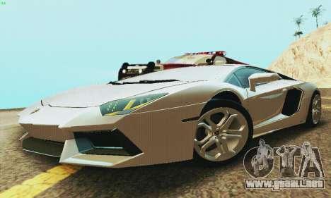Lamborghini Aventador LP700 para GTA San Andreas vista posterior izquierda