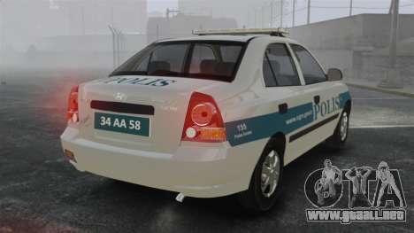 Hyundai Accent Admire Turkish Police [ELS] para GTA 4 Vista posterior izquierda