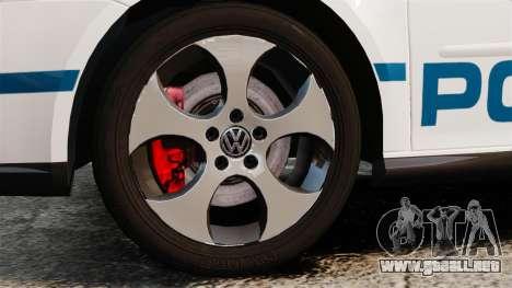 Volkswagen Golf 5 GTI Police v2.0 [ELS] para GTA 4 vista hacia atrás