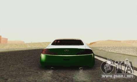 Infiniti G35 Hellaflush para la visión correcta GTA San Andreas
