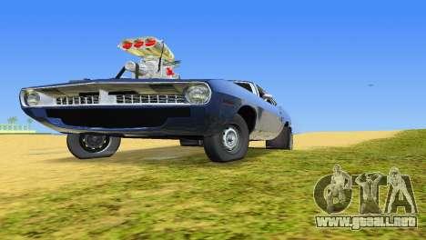 Plymouth Barracuda Supercharger para GTA Vice City vista posterior