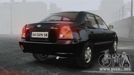 Hyundai Accent Admire para GTA 4 Vista posterior izquierda