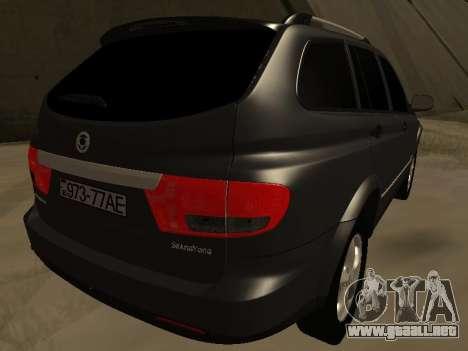 SsangYong New Kyron 2013 para GTA San Andreas vista posterior izquierda