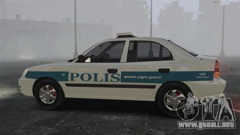 Hyundai Accent Admire Turkish Police [ELS] para GTA 4 left