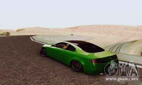 Infiniti G35 Hellaflush para GTA San Andreas vista posterior izquierda