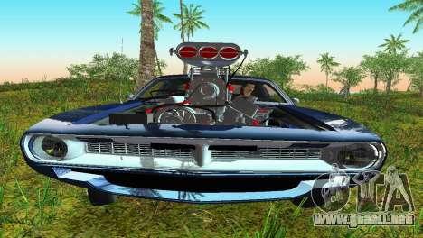Plymouth Barracuda Supercharger para GTA Vice City vista lateral izquierdo