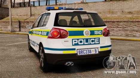 Volkswagen Golf 5 GTI Police v2.0 [ELS] para GTA 4 Vista posterior izquierda