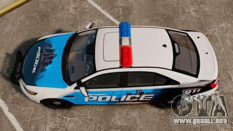 Ford Taurus 2010 Police Interceptor Detroit para GTA 4 visión correcta