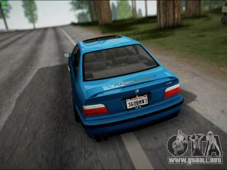 BMW M3 E36 Stance para vista inferior GTA San Andreas