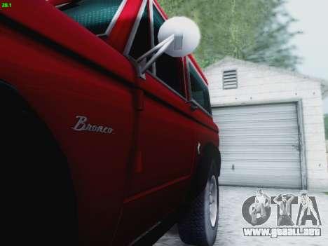 Ford Bronco 1966 para vista lateral GTA San Andreas