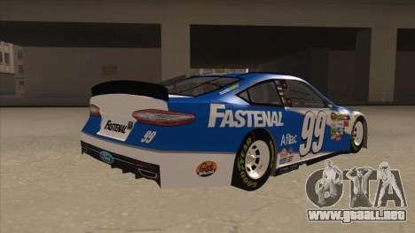 Ford Fusion NASCAR No. 99 Fastenal Aflac Subway para la visión correcta GTA San Andreas