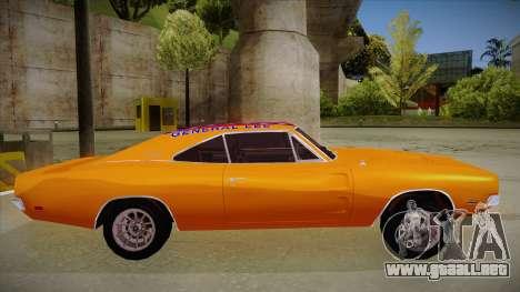Dodge Charger 1969 (general lee) para GTA San Andreas vista posterior izquierda