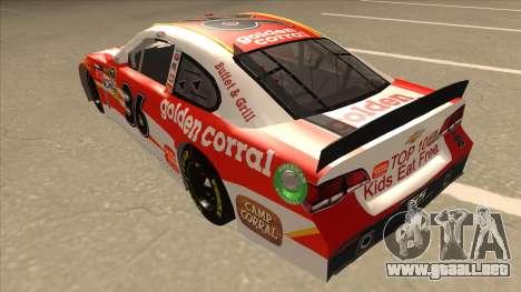 Chevrolet SS NASCAR No. 36 Golden Corral para GTA San Andreas vista hacia atrás