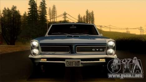 Pontiac Tempest LeMans GTO Hardtop Coupe 1965 para GTA San Andreas vista hacia atrás