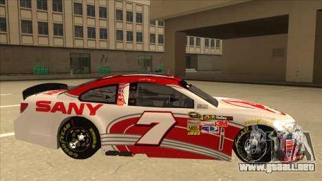 Chevrolet SS NASCAR No. 7 Sany para GTA San Andreas vista posterior izquierda