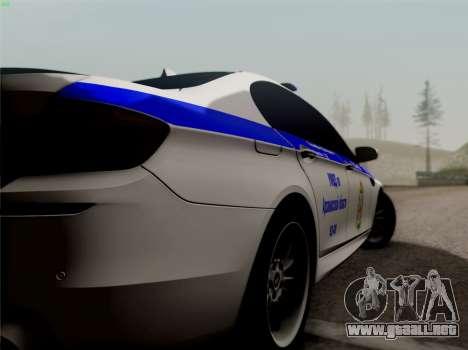 BMW M5 F10 INTERIOR OFICINA para GTA San Andreas vista posterior izquierda