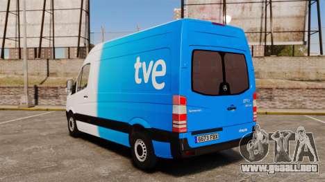 Mercedes-Benz Sprinter Spanish Television Van para GTA 4 Vista posterior izquierda