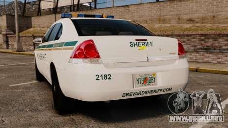 Chevrolet Impala BCSD 2010 [ELS] para GTA 4 Vista posterior izquierda
