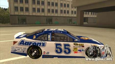 Toyota Camry NASCAR No. 55 Aarons DM white-blue para GTA San Andreas vista posterior izquierda