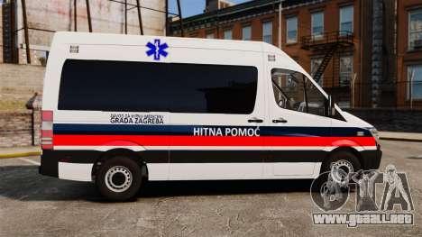 Mercedes-Benz Sprinter Zagreb Ambulance [ELS] para GTA 4 left