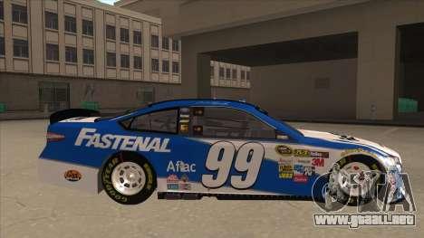 Ford Fusion NASCAR No. 99 Fastenal Aflac Subway para GTA San Andreas vista posterior izquierda