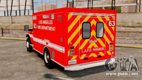 Dodge Ram 3500 2011 LAFD Ambulance [ELS] para GTA 4 Vista posterior izquierda