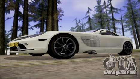 Mercedes-Benz SLR Mclaren para GTA San Andreas vista hacia atrás