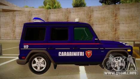 Mercedes Benz G8 Carabinieri para GTA San Andreas vista posterior izquierda