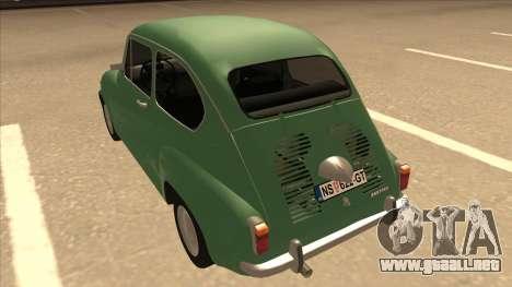 Zastava 750 Classic para GTA San Andreas vista hacia atrás
