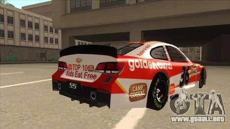 Chevrolet SS NASCAR No. 36 Golden Corral para la visión correcta GTA San Andreas