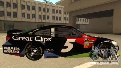 Chevrolet SS NASCAR No. 5 Great Clips para GTA San Andreas vista posterior izquierda
