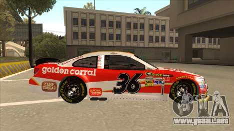 Chevrolet SS NASCAR No. 36 Golden Corral para GTA San Andreas vista posterior izquierda