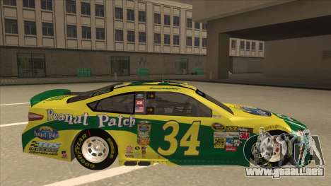 Ford Fusion NASCAR No. 34 Peanut Patch para GTA San Andreas vista posterior izquierda