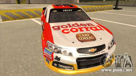 Chevrolet SS NASCAR No. 36 Golden Corral para GTA San Andreas left