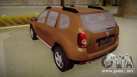 Dacia Duster Elite para GTA San Andreas vista hacia atrás