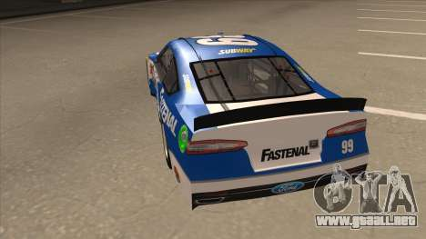Ford Fusion NASCAR No. 99 Fastenal Aflac Subway para GTA San Andreas vista hacia atrás