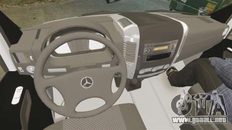 Mercedes-Benz Sprinter Spanish Television Van para GTA 4 vista hacia atrás