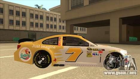 Chevrolet SS NASCAR No. 7 Florida Lottery para GTA San Andreas vista posterior izquierda
