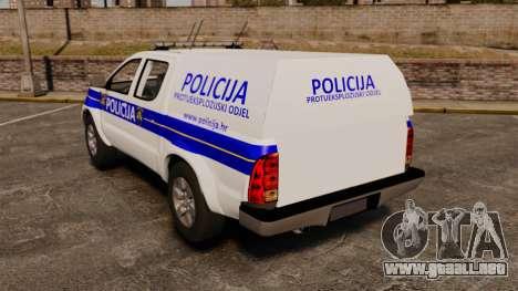 Toyota Hilux Croatian Police v2.0 [ELS] para GTA 4 Vista posterior izquierda
