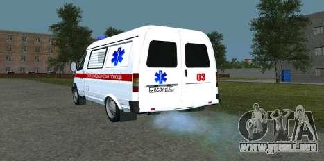 Ambulancia 22172 del GAS para GTA San Andreas vista posterior izquierda