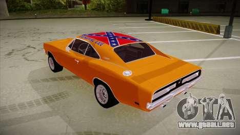 Dodge Charger 1969 (general lee) para GTA San Andreas vista hacia atrás
