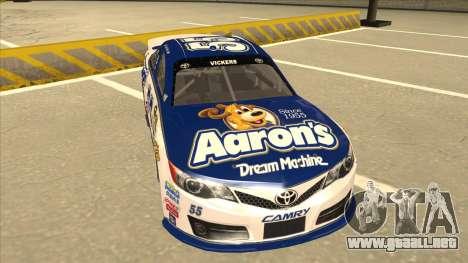 Toyota Camry NASCAR No. 55 Aarons DM white-blue para GTA San Andreas left