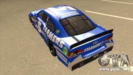 Chevrolet SS NASCAR No. 5 Farmers Insurance para GTA San Andreas vista hacia atrás