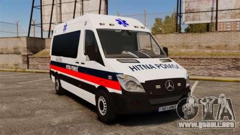 Mercedes-Benz Sprinter Zagreb Ambulance [ELS] para GTA 4