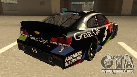 Chevrolet SS NASCAR No. 5 Great Clips para la visión correcta GTA San Andreas