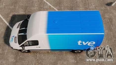 Mercedes-Benz Sprinter Spanish Television Van para GTA 4 visión correcta
