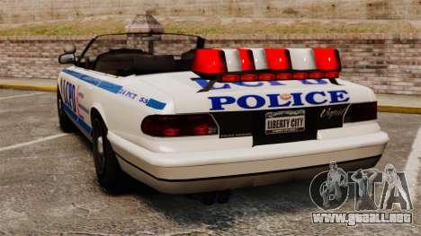 La versión convertible de la policía para GTA 4 Vista posterior izquierda