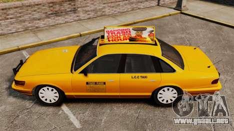 Taxi con nuevo disco v2 para GTA 4 Vista posterior izquierda