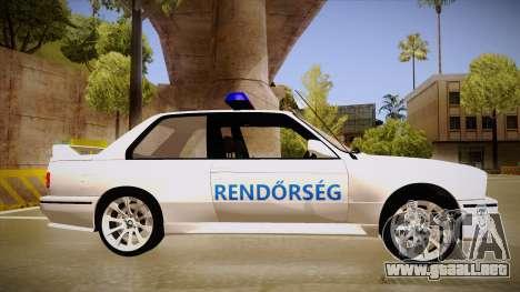 BMW M3 E30 Rendőrség para GTA San Andreas vista posterior izquierda